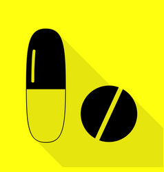 Medical pills sign black icon with flat style vector