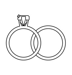 Wedding rings jewelry outline vector