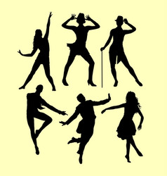 man and woman dancing sihouette vector image