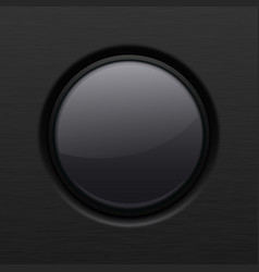 Black round plastic button 3d vector