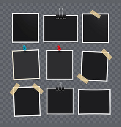 Photo frameset of realistic paper vector