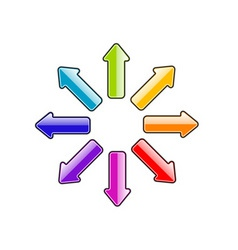 Simple arrows in rainbow colors vector