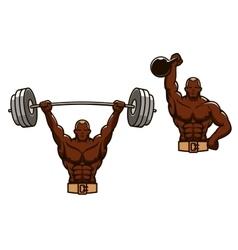 Cartoon muscular man lifting heavy weights vector image