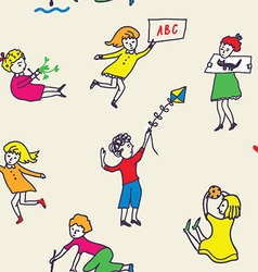 Seamless pattern for kindergarten with active kids vector