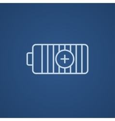 Fully charged battery line icon vector