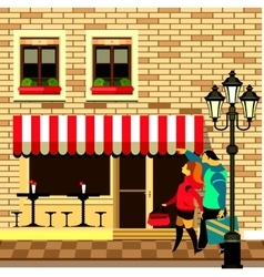 Small sidewalk cafe vector