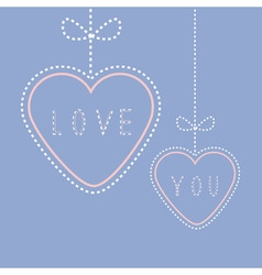 Two hanging hearts with bows love greeting card vector