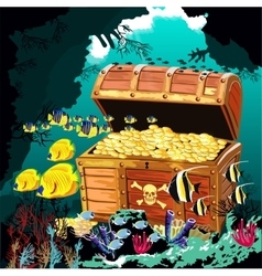 Underwater cave with an open pirate treasure chest vector