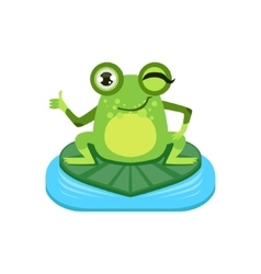 Approving cartoon frog character vector