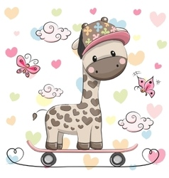 Cute giraffe with skateboard vector