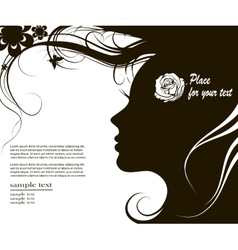 Woman silhouette with space for text vector