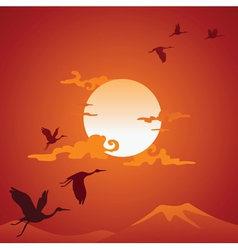 Abstract asian landscape with fly birds vector