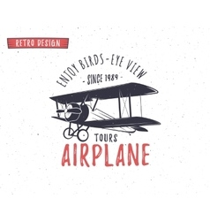 Airplane emblem Biplane label Retro Plane badges vector image