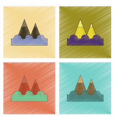 Assembly flat shading style icon tsunami mountains vector