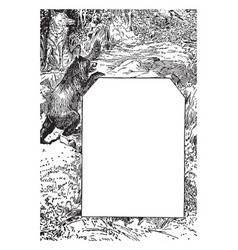 Bear and a wolf in this design vintage engraving vector