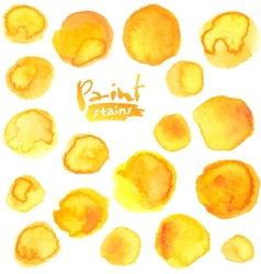 Big set of yellow watercolor stains vector