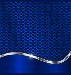 blue metal background perforation and chrome vector image vector image
