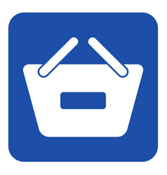 Blue white sign - shopping basket minus icon vector