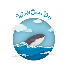 Card world oceans day style paper art vector