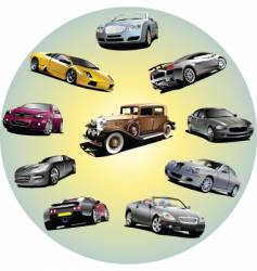 cars in circle vector image vector image