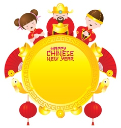 Chinese New Year Frame with Chinese God and Kids vector image vector image