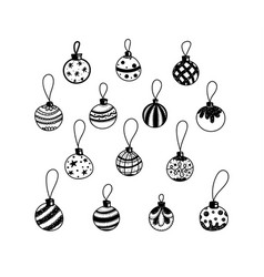 christmas decorations drawn by hand doodle set vector image