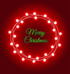 Christmas lights frame on red background vector image vector image