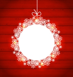 Christmas round frame made in snowflakes on red vector image vector image