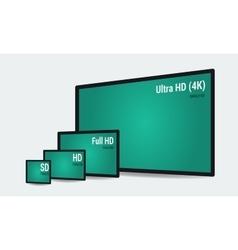 Concept various monitors size comparison vector