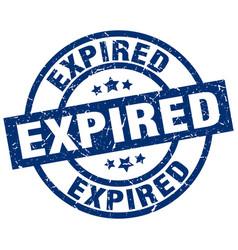 Expired blue round grunge stamp vector