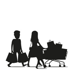 family making purchases silhouette vector image vector image