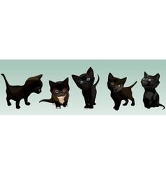 Five cartoon cute black kitten in different poses vector