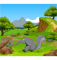 Funny anteater cartoon in the jungle vector
