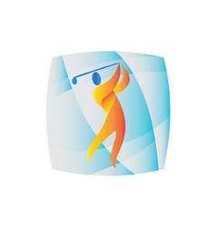 Golfer teeing off golf square retro vector