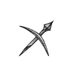 hand drawn sagittarius zodiac sign vector image vector image