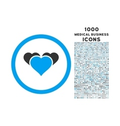 Heart favourites rounded icon with 1000 bonus vector