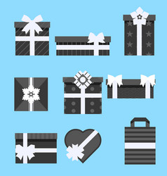 holiday presents gift box icon set different vector image vector image