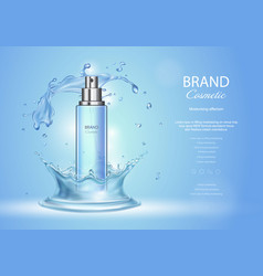 Ice toner ads with blue water splash spray bottle vector