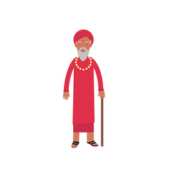 indian guru in traditional clothes religion vector image
