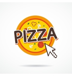Online pizza order icon internet arrow on pizza vector