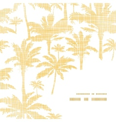 Palm trees golden textile frame corner pattern vector