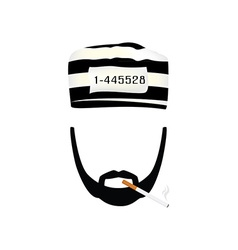 Prisoner with burning cigarette vector image vector image