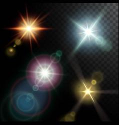 Realistic lens flares beams vector