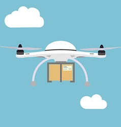 Remote air drone with a box flying in the sky vector image