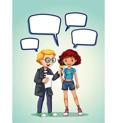 Reporter interview girl teenager vector image vector image