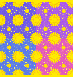 set of seamless patterns of yellow suns vector image vector image