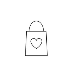 Shopping bag with heart line icon vector