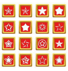 Star icons set red vector