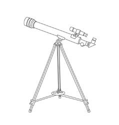 The telescope in hand drawn technique vector