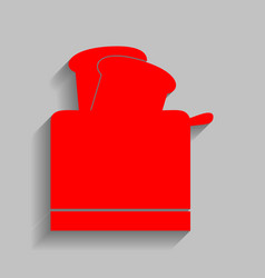 Toaster simple sign red icon with soft vector